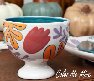 Mission Viejo Floral Pedestal Bowl