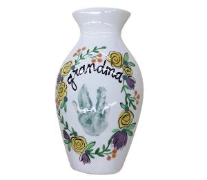 Mission Viejo Floral Handprint Vase